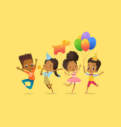 Joyous african-american boys and girls with the vector
