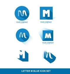 Letter M logo blue icon set vector image