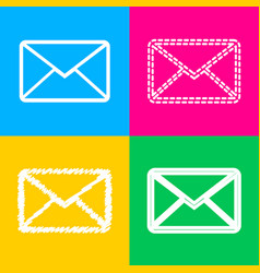 letter sign four styles of icon on vector image