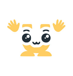Letter u cute kawaii character with hands funny vector