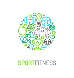 Linear sport and fitness logo design template vector