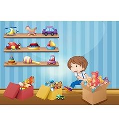 Little boy and many toys vector image