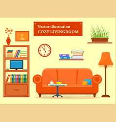 Living room interior with sofa and furniture vector