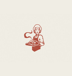 male chef carrying plate hot delicious meat vector image