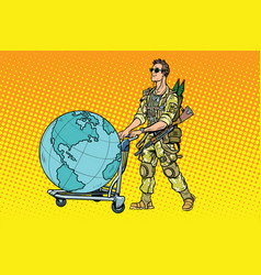 Military tourism the mercenary with a cart earth vector
