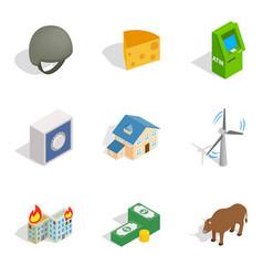 Money supply icons set isometric style vector