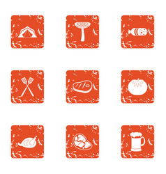 Outdoor food icons set grunge style vector