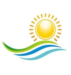 Panorama scenery sunset design icon symbol vector