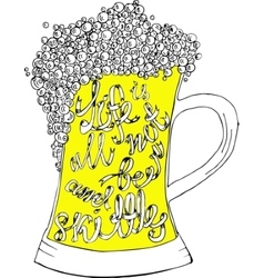 Pint of ale with hand drown inscription vector