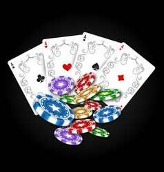 playing cards with a set chips vector image