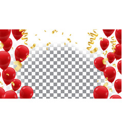 Poster with shiny red balloons on translucent vector