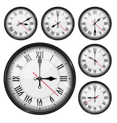 retro clock with roman numerals and vintage hour vector image