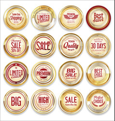 sale retro vintage golden badges and labels 07 vector image