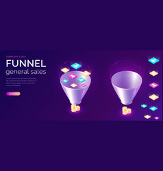 sales funnel isometric concept vector image