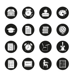 School and education glyph icons set vector