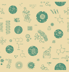 Seamless pattern with microscopes germs and vector