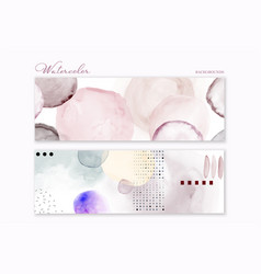 set colorful watercolor hand-painted vector image