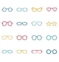 set of color glasses and sunglasses icons vector image