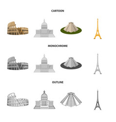 Sights of different countries cartoonoutline vector