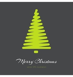 Simple green Christmas tree in outlines vector