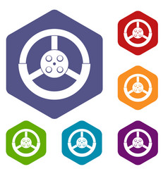 Steering wheel icons set hexagon vector