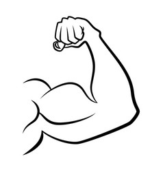 strong hand with muscles handdrawn icon vector image