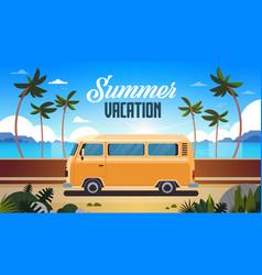 Summer vacation surf bus sunrise tropical beach vector