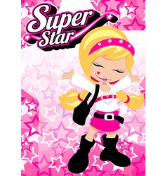 Super star girl on pink star background vector