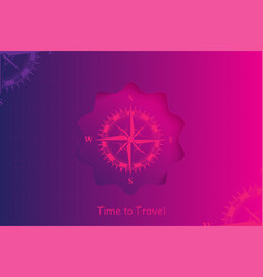time to travel banner for tourism concept with vector image
