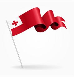 Tonga pin wavy flag vector