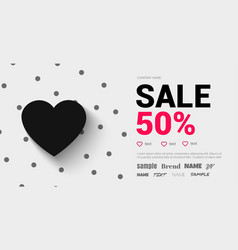 trend flyer with a black heart and shadow fo vector image