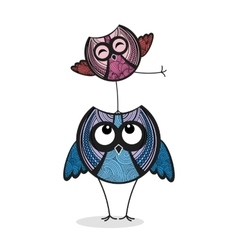 Two colorful funny owls vector image