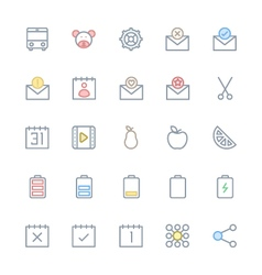 User Interface Colored Line Icons 23 vector image