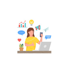 woman holding smartphone in front laptop vector image