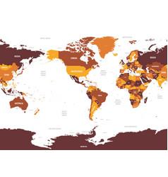 World map - america centered brown orange hue vector