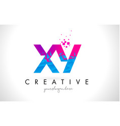 Xy x y letter logo with shattered broken blue vector
