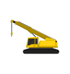 yellow crane on crawler tracks construction vector image