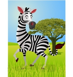 zebra cartoon in the jungle vector image