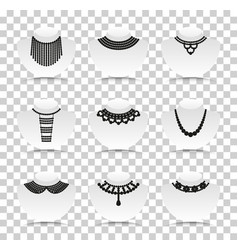 bead silhouettes set silhouette icons with vector image vector image