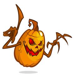 halloween pumpkin with wooden hands vector image vector image