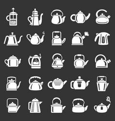 kettle teapot icons set grey vector image
