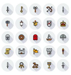 medieval icon set of colour simple icons vector image vector image