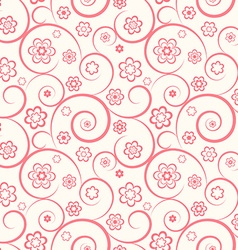 Pink seamless pattern Flowers and swirls vector image vector image