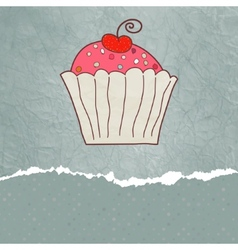 Retro valentine card with cupcake EPS 8 vector image