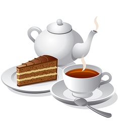 tea and cake icon vector image