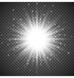 White glowing light burst explosion on transparent vector image