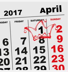 1 april fools day calendar reminder vector image vector image