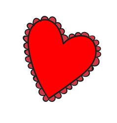 big red heart with a pattern on white background vector image
