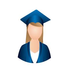 color woman graduation icon vector image vector image