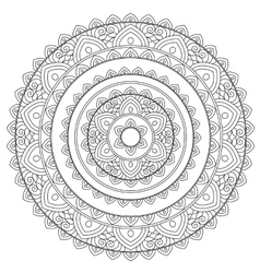 Coloring outline arabic mandala vector